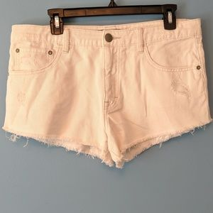 Free People White Distressed High Rise Shorts